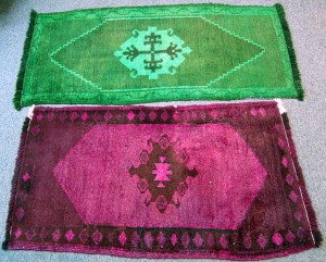 Dyed? Killed more like. Antique Carpets Dyed Pink and Green