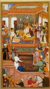 Mughal Miniature: Abu'l-Fazl ibn Mubarak presenting Akbarnama to the Grand Mogul Akbar