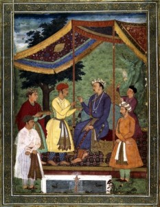 Emperor Jahangir receiving his two sons: album-painting in gouache on paper, c1605-06
