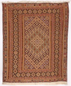 Daizangi Kilim with Colourful Diamond Pattern