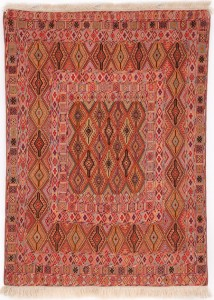 Daizangi Kilim with Framed Diamond Design