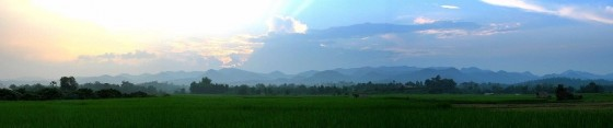 Rice paddies and mountains in Mae Hong Son Province