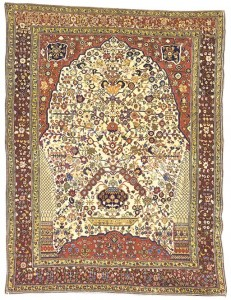 A millefleurs design in a Qashqai rug auctioned at Christie's