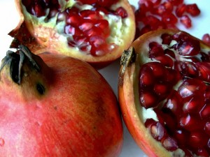 Pomegranate with blood-red arils
